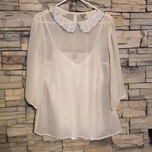 Cremieux White Blouse with Sequin Collar